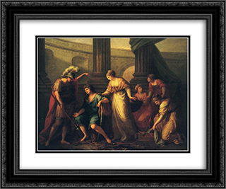 Hector Calls Paris to the Battle 24x20 Black or Gold Ornate Framed and Double Matted Art Print by Angelica Kauffman