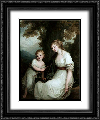 Juliane von Kriidener and her son Paul 20x24 Black or Gold Ornate Framed and Double Matted Art Print by Angelica Kauffman