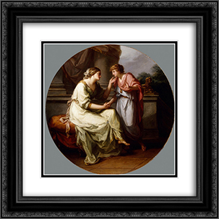 Papirius Praetextatus Entreated by his Mother to Disclose the Secrets of the Deliberations of the Roman Senate 20x20 Black or Gold Ornate Framed and Double Matted Art Print by Angelica Kauffman