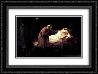 Penelope is woken by Euryclea 24x18 Black or Gold Ornate Framed and Double Matted Art Print by Angelica Kauffman