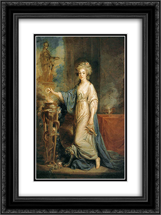 Portrait of a Woman as a Vestal Virgin 18x24 Black or Gold Ornate Framed and Double Matted Art Print by Angelica Kauffman