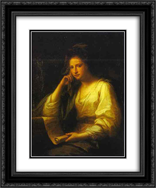 Portrait of a Young Woman as a Sibyl 20x24 Black or Gold Ornate Framed and Double Matted Art Print by Angelica Kauffman