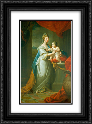 Portrait of Augusta of Hanover with her first born son Karl Georg of Brunswick 18x24 Black or Gold Ornate Framed and Double Matted Art Print by Angelica Kauffman