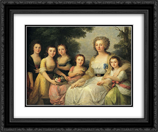 Portrait of Countess A S Protasova with Her Nieces 24x20 Black or Gold Ornate Framed and Double Matted Art Print by Angelica Kauffman