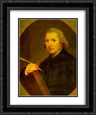 Portrait of Lorenzo Hervas y Panduro 20x24 Black or Gold Ornate Framed and Double Matted Art Print by Angelica Kauffman