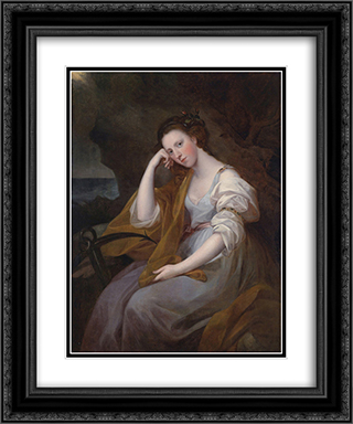 Portrait of Louisa Leveson Gower as Spes (Goddess of Hope) 20x24 Black or Gold Ornate Framed and Double Matted Art Print by Angelica Kauffman