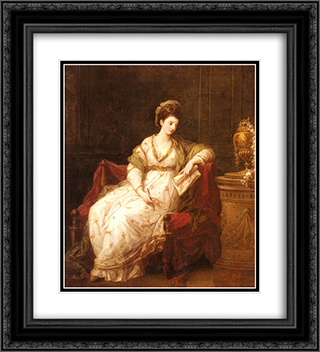 Portrait of Louise Henrietta Campbell 20x22 Black or Gold Ornate Framed and Double Matted Art Print by Angelica Kauffman
