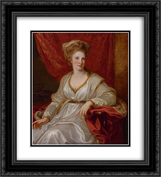 Portrait of Maria Carolina of Austria 20x22 Black or Gold Ornate Framed and Double Matted Art Print by Angelica Kauffman
