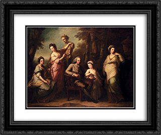Portrait Of Philip Tisdall With His Wife And Family 24x20 Black or Gold Ornate Framed and Double Matted Art Print by Angelica Kauffman