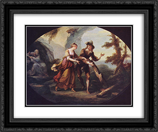 Scene with Miranda and Ferdinand 24x20 Black or Gold Ornate Framed and Double Matted Art Print by Angelica Kauffman