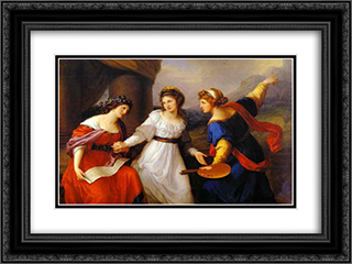 Self Portrait, the Artist Hesitating Between the Arts of Music and Painting 24x18 Black or Gold Ornate Framed and Double Matted Art Print by Angelica Kauffman