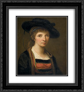 Self-portrait 20x22 Black or Gold Ornate Framed and Double Matted Art Print by Angelica Kauffman