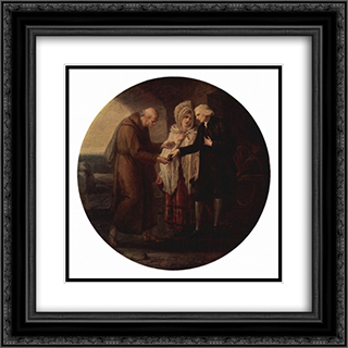 The monk from Calais 20x20 Black or Gold Ornate Framed and Double Matted Art Print by Angelica Kauffman