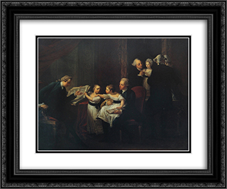 The Townshend Family 24x20 Black or Gold Ornate Framed and Double Matted Art Print by Angelica Kauffman