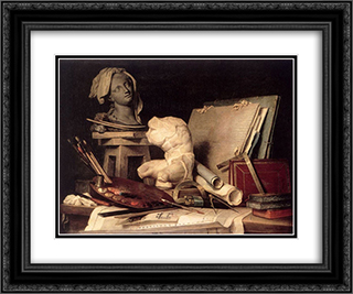 Attributes of Painting, Sculpture, and Architecture 24x20 Black or Gold Ornate Framed and Double Matted Art Print by Anne Vallayer Coster
