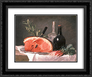 Still Life with a Ham 24x20 Black or Gold Ornate Framed and Double Matted Art Print by Anne Vallayer Coster