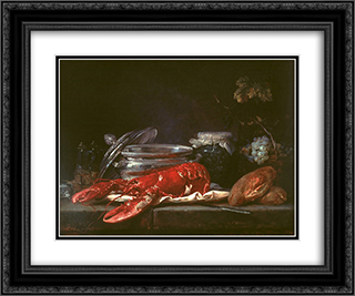 Still Life with Lobster 24x20 Black or Gold Ornate Framed and Double Matted Art Print by Anne Vallayer Coster
