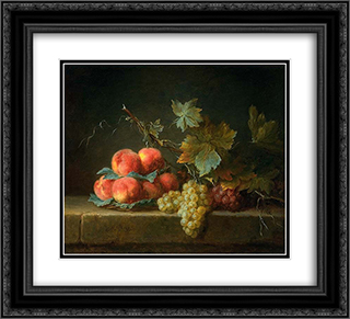 Still Life with Peaches and Grapes 22x20 Black or Gold Ornate Framed and Double Matted Art Print by Anne Vallayer Coster