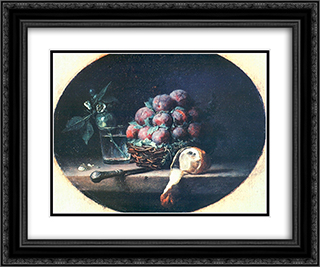 Still Life with Plums and a Lemon 24x20 Black or Gold Ornate Framed and Double Matted Art Print by Anne Vallayer Coster