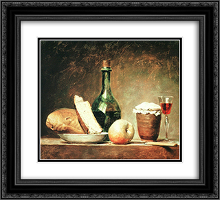 Still Life with Round Bottle 22x20 Black or Gold Ornate Framed and Double Matted Art Print by Anne Vallayer Coster