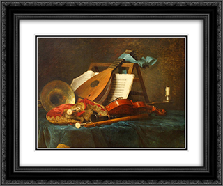 The Attributes of Music 24x20 Black or Gold Ornate Framed and Double Matted Art Print by Anne Vallayer Coster