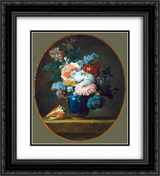 Vase of Flowers 20x22 Black or Gold Ornate Framed and Double Matted Art Print by Anne Vallayer Coster
