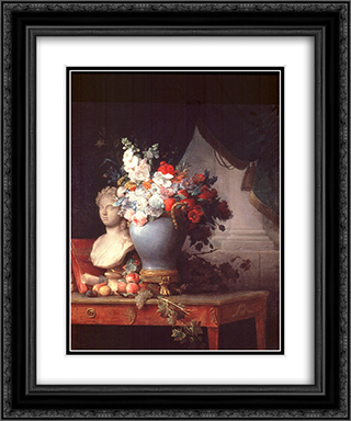 Vase of Flowers with a Bust of Flora 20x24 Black or Gold Ornate Framed and Double Matted Art Print by Anne Vallayer Coster