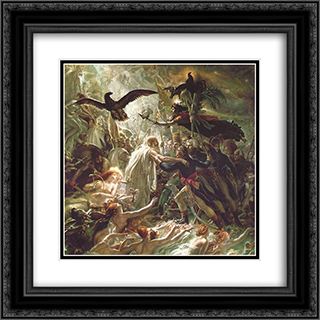Ossian receiving the Ghosts of the French Heroes 20x20 Black or Gold Ornate Framed and Double Matted Art Print by Anne Louis Girodet