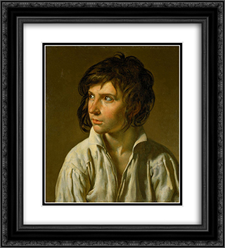 Portrait of a Youth 20x22 Black or Gold Ornate Framed and Double Matted Art Print by Anne Louis Girodet