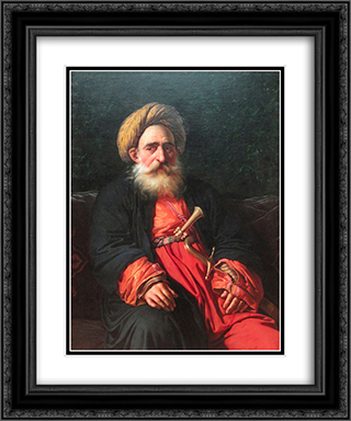 Portrait of the Katchef Dahouth, Christian Mameluke 20x24 Black or Gold Ornate Framed and Double Matted Art Print by Anne Louis Girodet