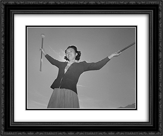 Baton practice at the Manzanar War Relocation Center 24x20 Black or Gold Ornate Framed and Double Matted Art Print by Ansel Adams