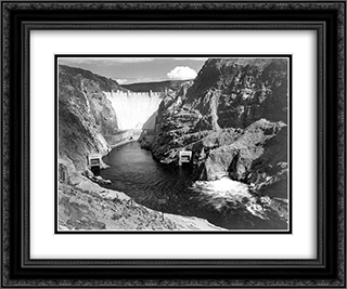 Boulder Dam 24x20 Black or Gold Ornate Framed and Double Matted Art Print by Ansel Adams