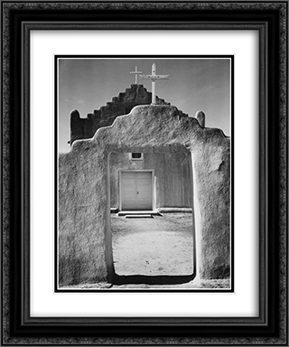 Church, Taos Pueblo 20x24 Black or Gold Ornate Framed and Double Matted Art Print by Ansel Adams