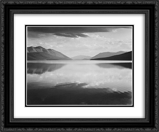 Evening, McDonald Lake, Glacier National Park 24x20 Black or Gold Ornate Framed and Double Matted Art Print by Ansel Adams