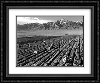 Farm, farm workers, Mt. Williamson in background, Manzanar Relocation Center, California 24x20 Black or Gold Ornate Framed and Double Matted Art Print by Ansel Adams