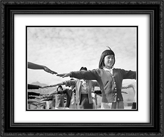 Female interns practicing calisthenics at Manzanar internment camp 24x20 Black or Gold Ornate Framed and Double Matted Art Print by Ansel Adams