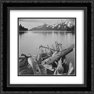 Grand Teton National Park, Wyoming 20x20 Black or Gold Ornate Framed and Double Matted Art Print by Ansel Adams