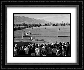 Manzanar Baseball 24x20 Black or Gold Ornate Framed and Double Matted Art Print by Ansel Adams