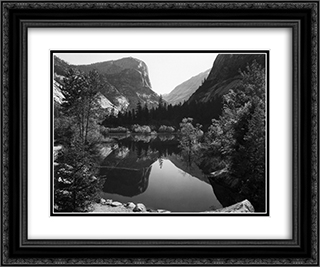 Mirror Lake, Morning, Yosemite National Park 24x20 Black or Gold Ornate Framed and Double Matted Art Print by Ansel Adams