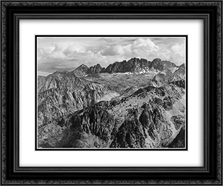 North Palisade from Windy Point 24x20 Black or Gold Ornate Framed and Double Matted Art Print by Ansel Adams