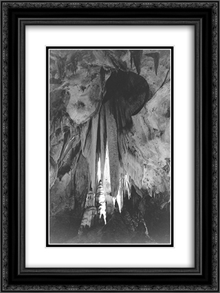 Onyx drapes in the Papoose Room, Carlsbad Caverns 18x24 Black or Gold Ornate Framed and Double Matted Art Print by Ansel Adams
