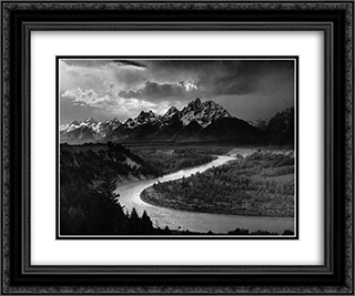 The Tetons and the Snake River 24x20 Black or Gold Ornate Framed and Double Matted Art Print by Ansel Adams