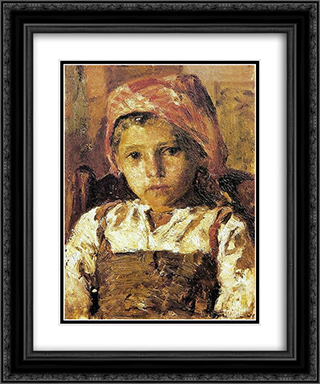 Head of a Girl 20x24 Black or Gold Ornate Framed and Double Matted Art Print by Antonio de Carvalho da Silva Porto