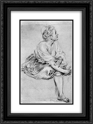 A Seated Woman 18x24 Black or Gold Ornate Framed and Double Matted Art Print by Antoine Watteau