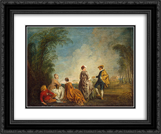 An Embarrasing Proposal 24x20 Black or Gold Ornate Framed and Double Matted Art Print by Antoine Watteau