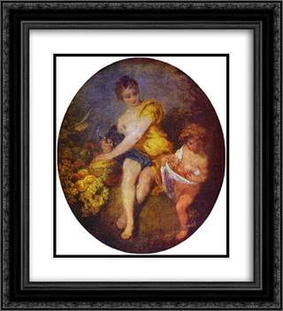 Autumn 20x22 Black or Gold Ornate Framed and Double Matted Art Print by Antoine Watteau