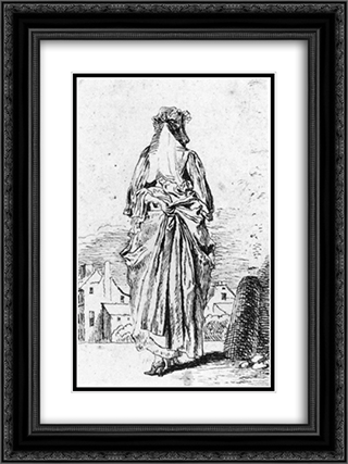 Back of Woman 18x24 Black or Gold Ornate Framed and Double Matted Art Print by Antoine Watteau