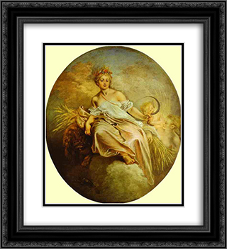 Ceres (Summer) 20x22 Black or Gold Ornate Framed and Double Matted Art Print by Antoine Watteau