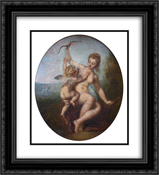 Cupid Disarmed 20x22 Black or Gold Ornate Framed and Double Matted Art Print by Antoine Watteau