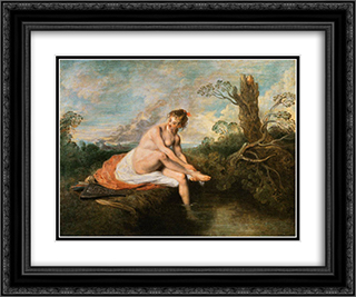 Diana at her Bath 24x20 Black or Gold Ornate Framed and Double Matted Art Print by Antoine Watteau